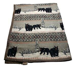 Vintage Woolrich Black Bear Blanket Faux Leather Trim Cabin Decor