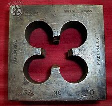 """Vintage Industrial Greenfield Square Threaded Bolt Die 3/4"""" NC 10"""
