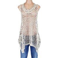 Womens Kaktus Medium M Top Shirt Tunic Open Weave Knit Natural Lagenlook Boho