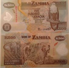 ZAMBIA 2011 500 KWACHA UNC POLYMER BANKNOTE P-NEW SHARP BUY FROM A USA SELLER !!