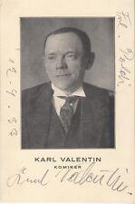 Karl valentin-rare-AUTOGRAPHE CARTE de 1933-original signé