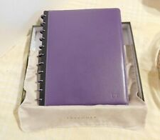 Levenger Eggplant Purple Circa Leather Notebook Dt Embossed New