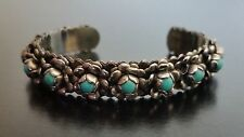 Vintage Mexico Silver & Turquoise Flower Cuff Bracelet