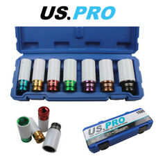 "US PRO 7PC 1/2"" Alloy Wheel Deep Impact Sockets 17 - 27mm 1686"