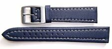 Authentic Locman 18mm NAVY BLUE Lorica Leather Watch Band/Strap with Buckle. NEW