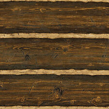 Brown Embossed Raised Texture Logs Wallpaper Double Roll   96501, 41382