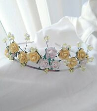 beautiful lemon/white rose and crystal/pearl tiara