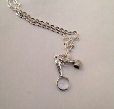 Mini Magnifying Glass & Smoking Pipe Pendant Charm NECKLACE SHERLOCK INSPIRED