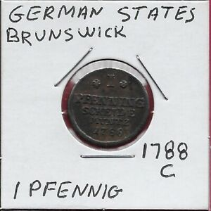 GERMAN STATES BRUNSWICK LUNEBERG CALENBERG HANNOVER ELECTORATE 1 PFENNIG 1788-C