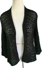Grace Elements XL Sequined Loose Knit Open Front Cardigan Sweater Black