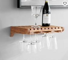 Pottery Barn Wine Glass Storage Wooden Shelf Rustic Wall Mount New in Box