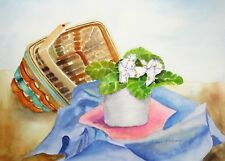 """""""African Violet and Basket"""", Florals, weaving, white flowers, still life"""