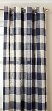 "Courtyard Plaid Woven Curtain Panel with Grommets, Navy, 84"" length, Lorraine"