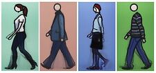 JULIAN OPIE 'Walking I', 2010 Set of 4 Lenticular 3-D Motion Art Postcards *NEW*