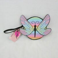 Luv Betsey Johnson Butterfly Coin Purse Multi Color Pink Wings Zip Circle $48