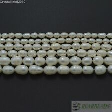 """Natural Freshwater White Pearl Oval Rice Beads 4mm 6mm 7mm 8mm 9mm 10mm 11mm 15"""""""