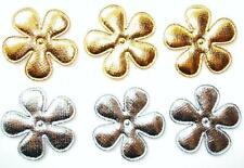 "50 Gold & Silver 1.5"" Applique/Christmas/trim/Craft/Patent Fabric H192-Flower"