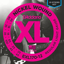 D'ADDARIO EXL170-12 NICKEL BASS STRINGS , 12 STRING SET - LONG SCALE 45-100