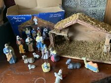 CHRISTMAS NATIVITY SET CERAMIC AND WOOD VINTAGE XMAS 99p NO RESERVE 💕
