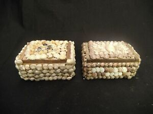 "LOT OF 2 SEASHELL COVERED BROWN LINED JEWELRY TRINKET BOXES 3.25"" X 2.25"" X 1.75"