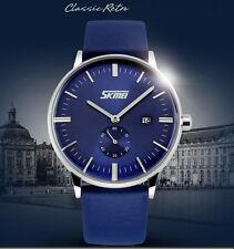 SKMEI reloj analógico azul día correa de piel y esfera segundero independiente