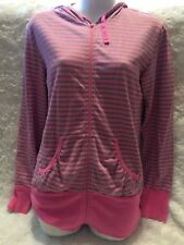 Victoria Secret Pink & Gray Striped Hooded Long Sleeve Zippered Up Shirt X Small