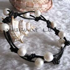 "8"" 8-10mm White Freshwater Pearl Bracelet Black Leather Bracelet Jewelry UE"