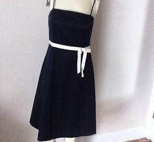 ANN TAYLOR BLACK DRESS SPAGHETTI STRAP WITH  WHITE BELT AND BOW- NWT- 6