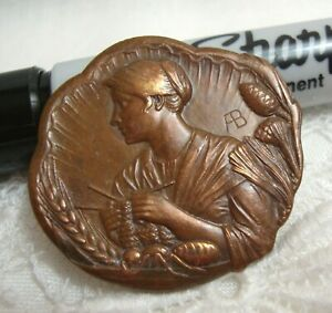 """Armand Bargas Metal Picture Button 1 1/4""""  WOMAN KNITTING"""