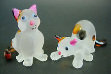 2 Tiny Glass CATS KITTENS White Spotted Painted Glass Animals Glass Ornaments