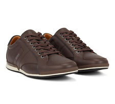 Hugo Boss Men's Premium Sport Leather Sneakers Shoes Saturn Lowp Dark Brown (7)