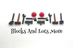 NEW LEGO 10 x Building Construction Tools Spade Black Spanner Broom Hat Axe Etc