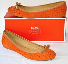 New $138 Coach Daisey Perforated Suede/Veg Leather Papaya sz 8 Slip Ons Flats