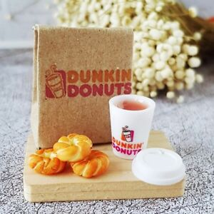 Dollhouse Miniatures Food Bakery Doughnut Mini Dunkin Donuts Hot Coffee Bag Set
