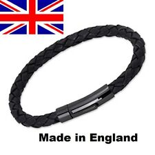 Braided  Genuine Leather Bracelet with Stainless Steel Clasp 8mm Made in the UK