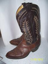 Mens 9 EE TONY LAMA Brown Leather Western Cowboy Riding Boots FLAME STITCH