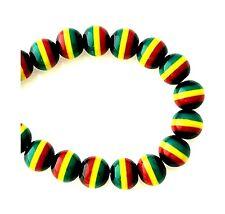 100 Rasta Black Red Green Yellow Striped Jamaica Ghana Flag Colors 8x7mm Beads