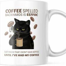 Funny Coffee Cat Mug Eeffoc Is Coffee Spelled Backwards. 11 Oz Cute Cup M747