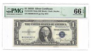 1935D $1 SILVER CERTIFICATE, PMG GEM UNCIRCULATED 66 EPQ BANKNOTE, WIDE