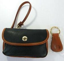 Dooney & Bourke Wristlet & Logo Key Ring Black Pebble Leather Brown Trim