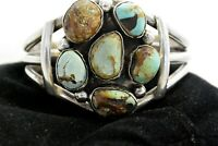 """6.6"""" Navajo CUFF BRACELET w/6 NATURAL ROYSTON BOULDER TURQUOISE Sterling Silver"""