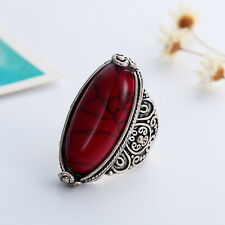 Oval Cut Red/Green/Blue Turquoise Gemstone Tibet Tribe Silver Ring Size O-T1/2