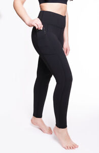 "Women Leggings High Waist Black Yoga Pants Tummy Control Pockets 28"" AZARMAN"