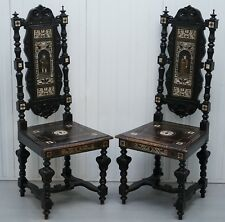 STUNNING HAND MADE ITALIAN 19TH CENTURY EBONISED & BRONZE CHAIRS 17TH CENTURY