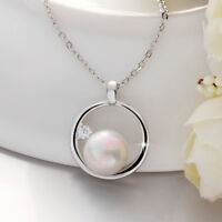 Classic 18K White Gold Filled Circle Seashell Pearl Necklace Jewelry