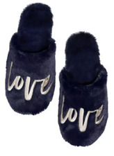 Victoria's Secret Fuzzy Cozy Slippers Mothers Day LOVE Faux Fur Navy size M