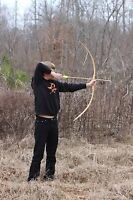 Handcrafted Traditional Youth Training Bow made of Hickory right handed Medium