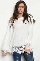 Long Bell Sleeve Ruffled High Neckline Crochet Trim Tunic White Blouse - Boho