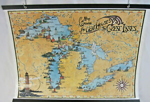 Laminated Map of The Lighthouses of The Great Lakes - Avery Color Studios 1990
