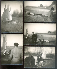7 phot. AVIATION, crash avion bimoteur  An.1940/50 ? à préciser Vintage snapshot